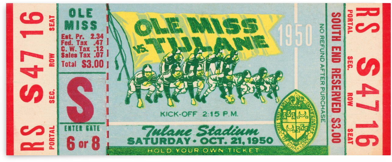 1950 Ole Miss Rebels vs. Tulane Green Wave | Row 1 by Row One Brand