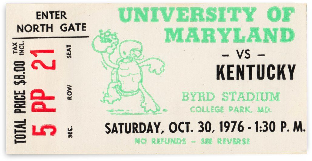 1976 Maryland Terrapins vs. Kentucky Wildcats by Row One Brand