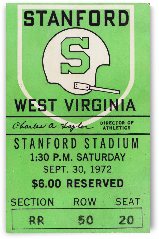 1972 Stanford vs. West Virginia | Row 1 by Row One Brand