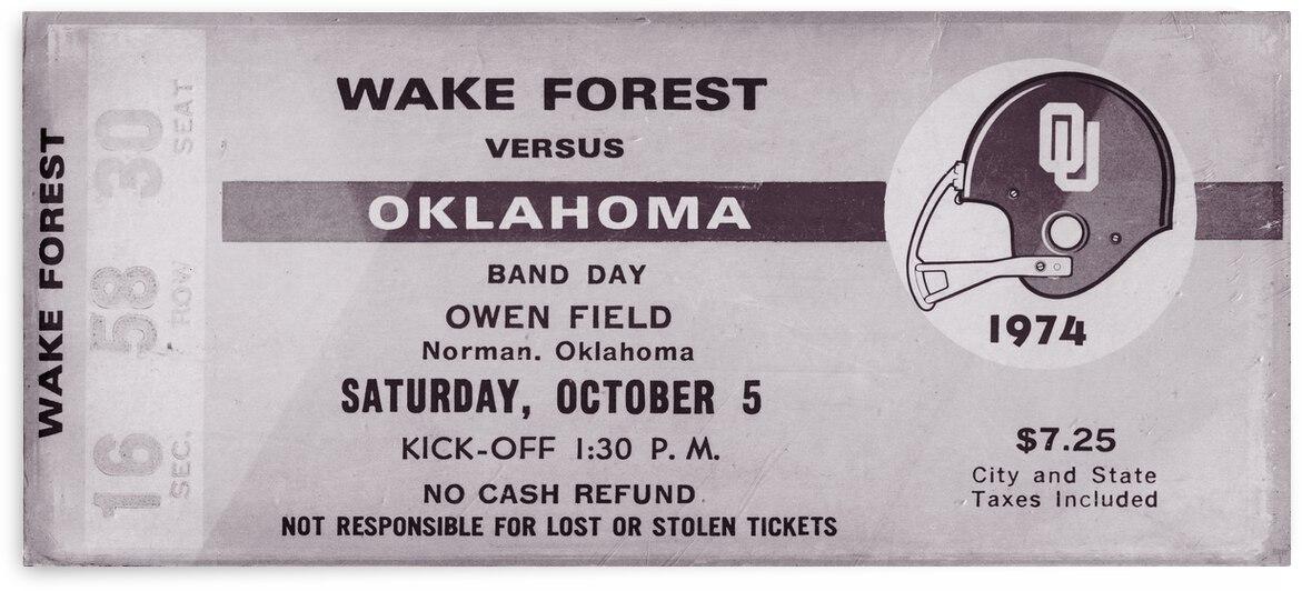 1974 Oklahoma Sooners vs. Wake Forest | Ticket Stub Remix Art | Row 1 by Row One Brand