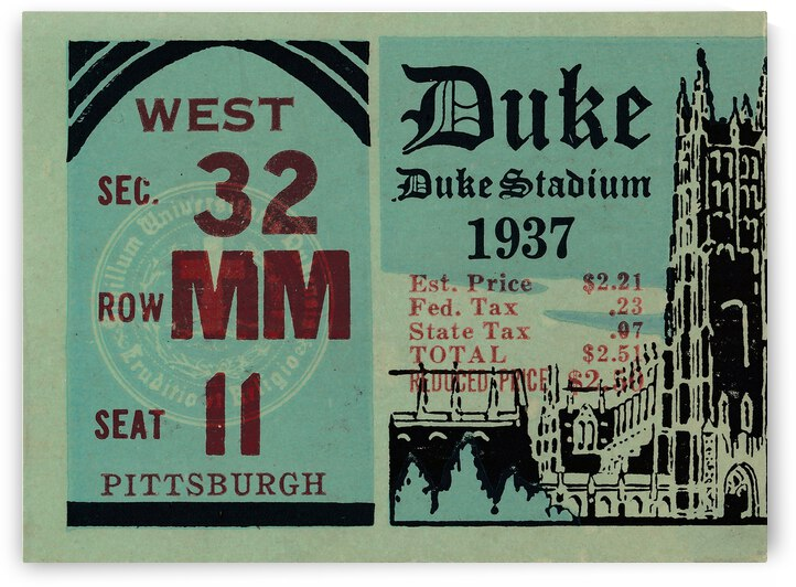 1937 Duke Blue Devils vs. Pittsburgh Panthers | Row 1 by Row One Brand
