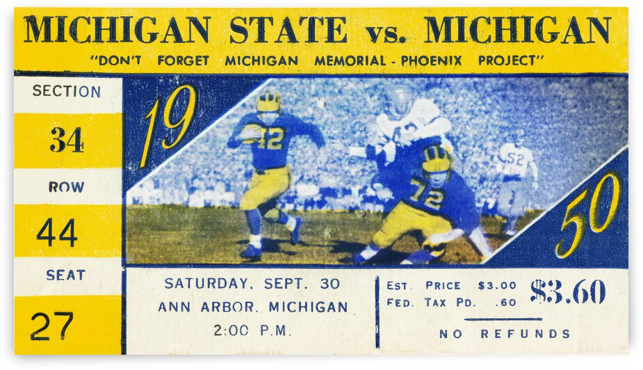 1950 Michigan State Spartans vs. Michigan Wolverines | Row 1 by Row One Brand