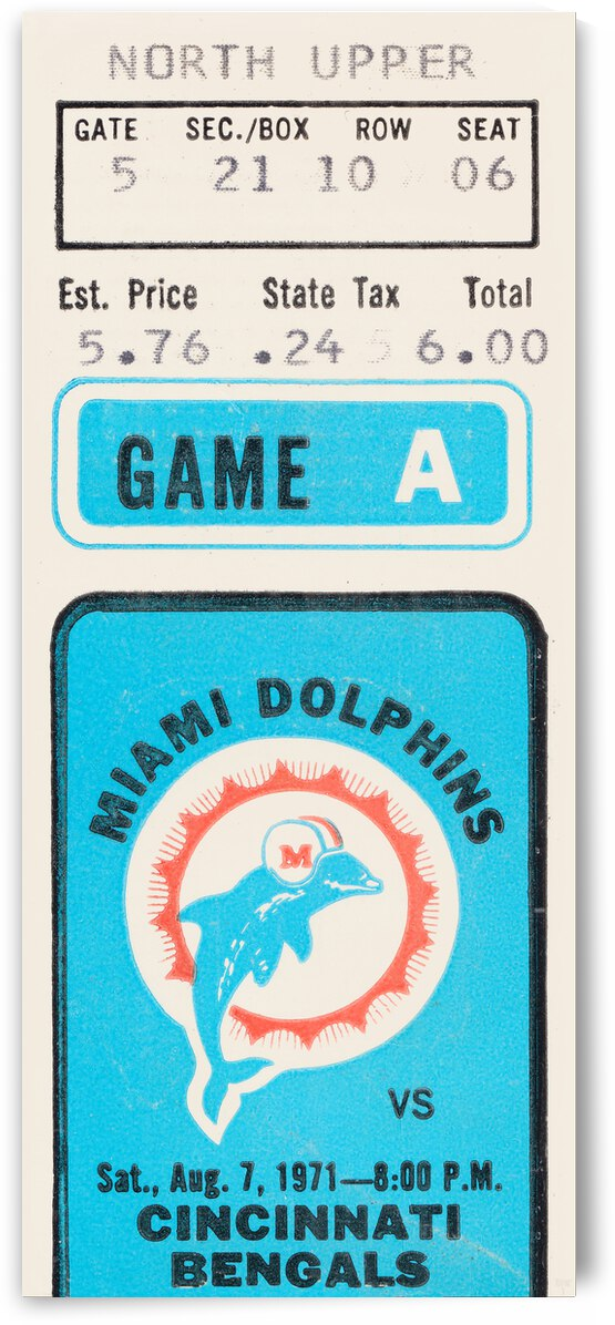 1971 Miami Dolphins vs. Cincinnati Bengals Preseason Game | Row 1 by Row One Brand