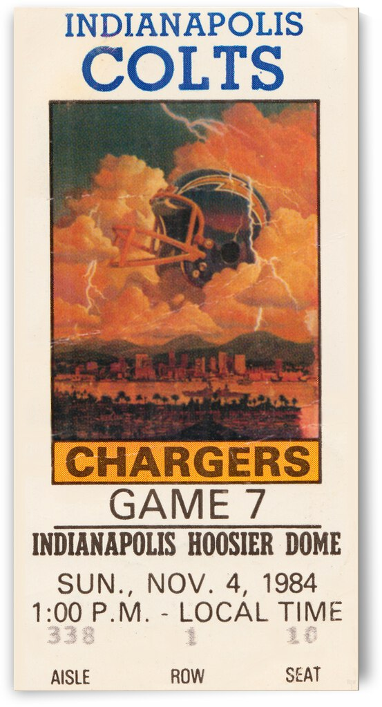 1984 Indianapolis Colts vs. San Diego Chargers | Row 1 by Row One Brand