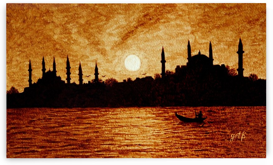 Sunset Over Istanbul Original Coffee Painting by Georgeta Blanaru