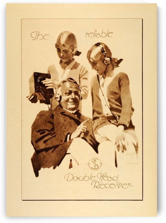 1926 Ludwig Hohlwein Radio Receiver Headset Ad Poster by VINTAGE POSTER