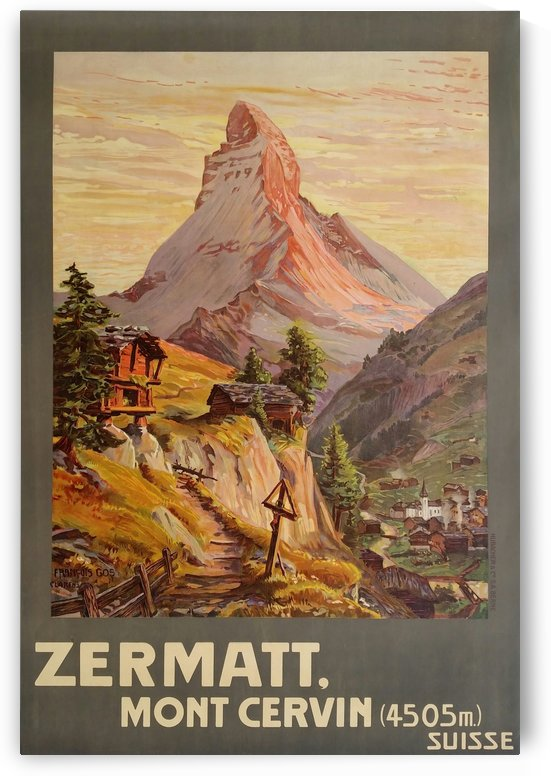 Suisse Zermatt Mont Cervin travel poster by VINTAGE POSTER