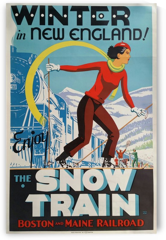 Winter in New England The snow train travel poster by VINTAGE POSTER