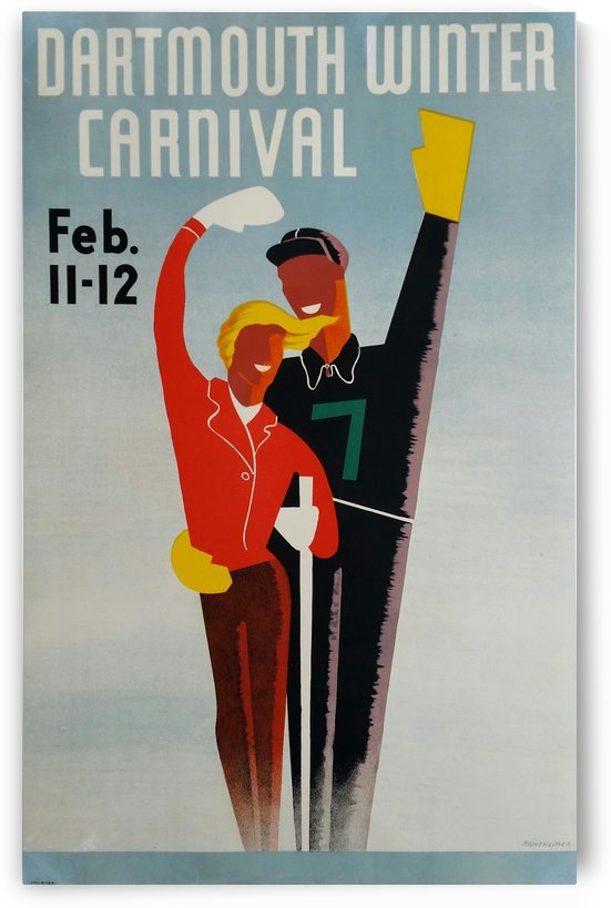 Affiche originale ski Dartmouth winter carnival February 11-12 Armsheimer by VINTAGE POSTER