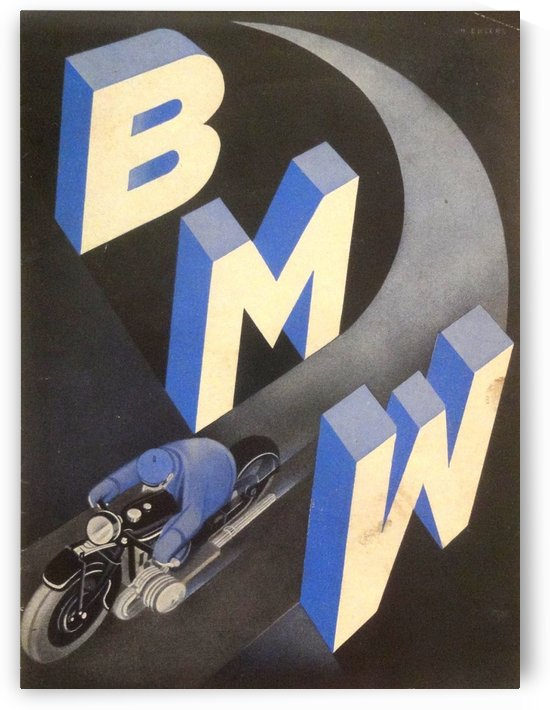 1930 BMW art deco poster by VINTAGE POSTER