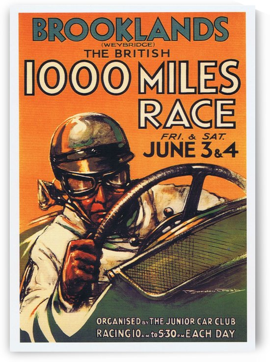 Vintage poster in 1930 for Brooklands The British 1000 Miles Race by VINTAGE POSTER