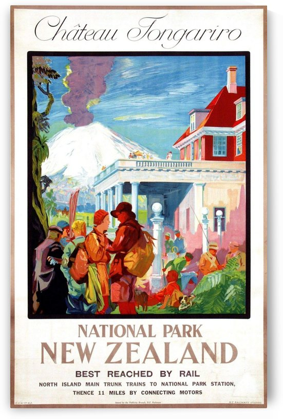 National Park New Zealand poster by VINTAGE POSTER