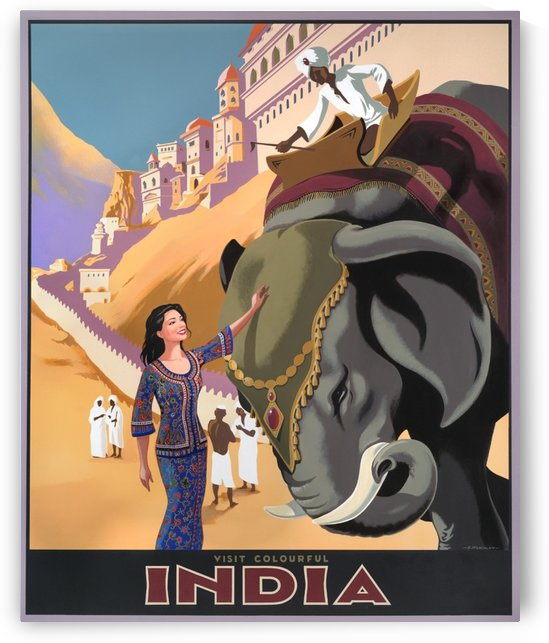 Visit Colorful India Vintage Travel Poster by VINTAGE POSTER