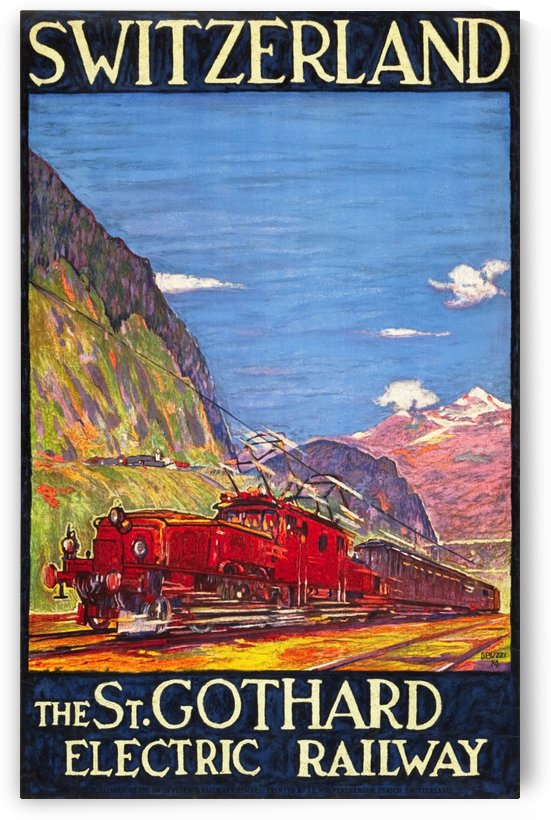 The Saint Gothard Electric Railway, Switzerland Travel Poster in 1924 by VINTAGE POSTER