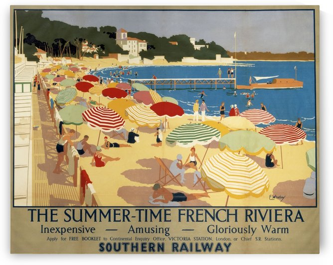 The Summertime French Riviera Southern Railway travel poster by VINTAGE POSTER
