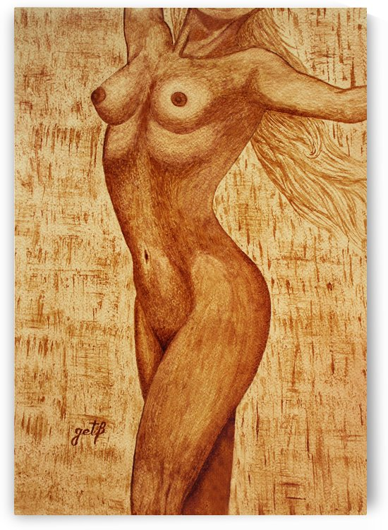 Woman Nude Original Coffee Painting by Georgeta Blanaru