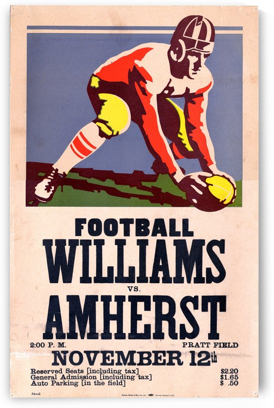 1938 Amherst versus Williams program cover poster by VINTAGE POSTER