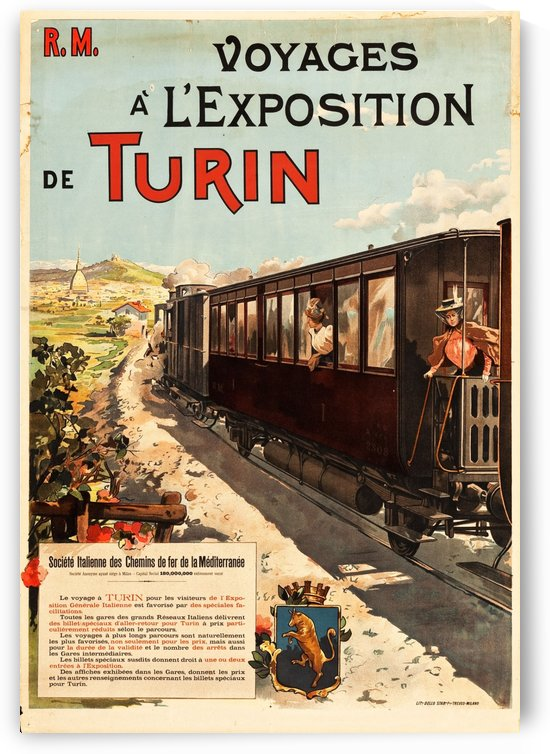 Voyage a LExposition de Turin, Italy by VINTAGE POSTER