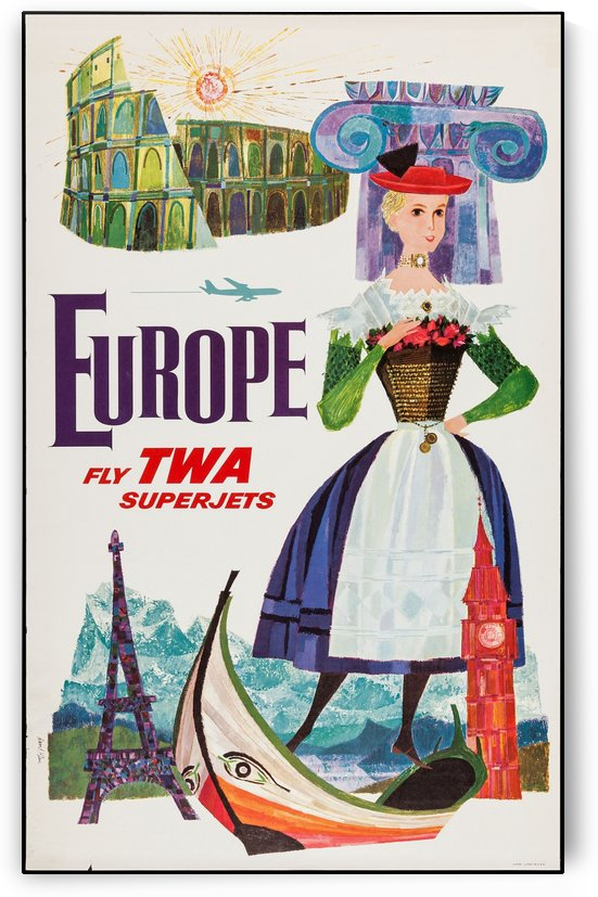 TWA Airlines Europe by VINTAGE POSTER