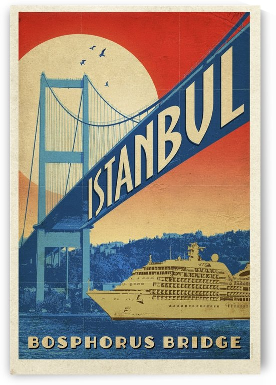 Istanbul Bophorus Bridge Vintage Designed Turkey Poster by VINTAGE POSTER