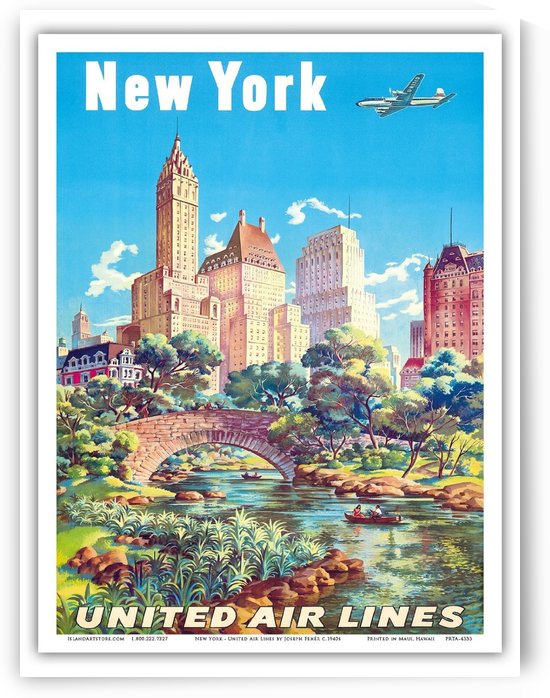 New York United Air Lines travel poster by VINTAGE POSTER