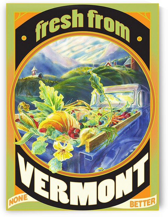Faux Vintage Fresh from Vermont Travel Poster by VINTAGE POSTER