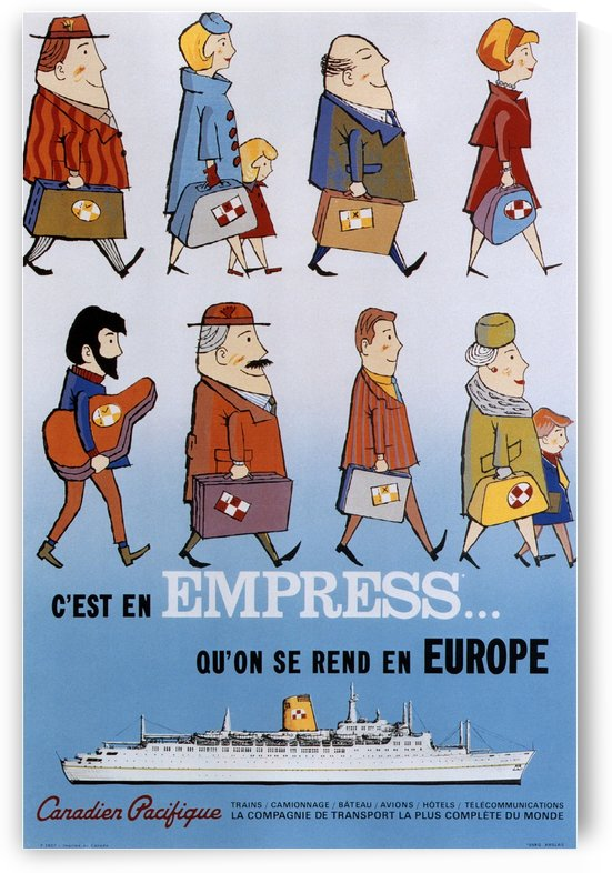 Canadian Pacific Empress via Europe Vintage Advertising Poster by VINTAGE POSTER
