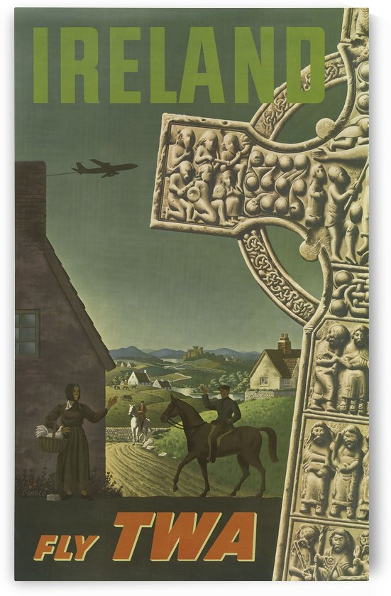 Ireland Fly TWA Vintage Travel Poster by VINTAGE POSTER
