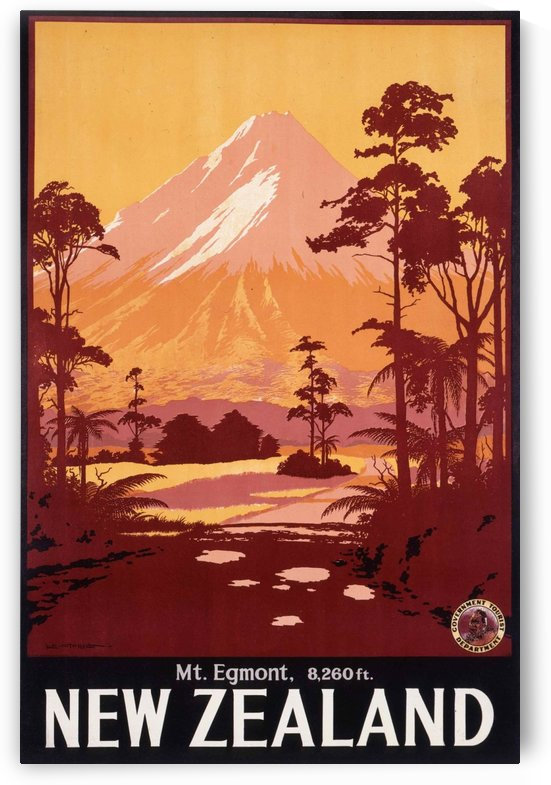 New Zealand Mount Egmont travel poster by VINTAGE POSTER
