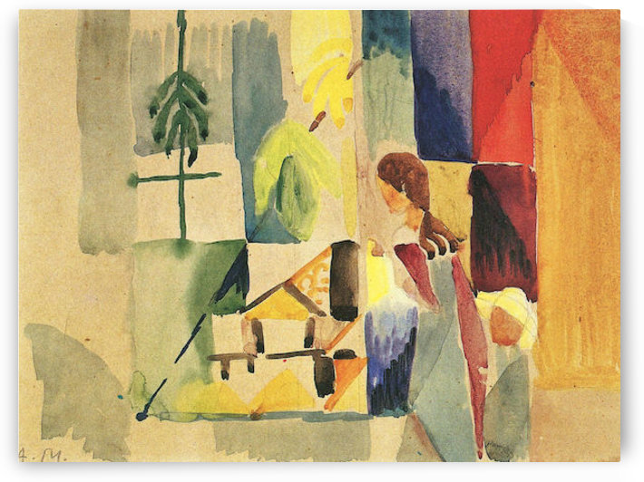 Children at the vegetable shop (II) by August Macke by August Macke