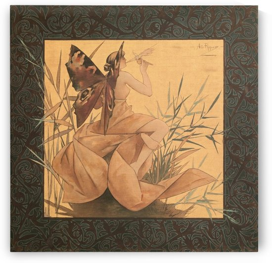 Alexandre-de-Riquer---Winged-nymph-blowing-amongst-reeds by VINTAGE POSTER