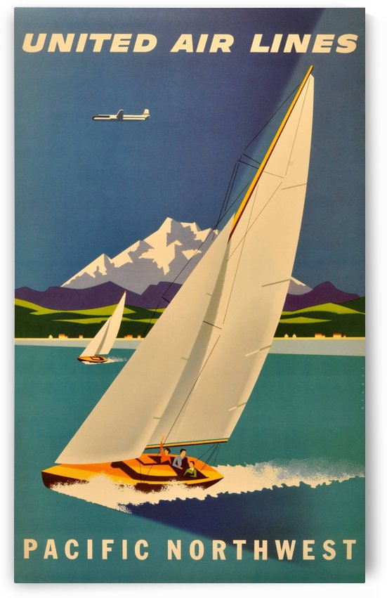 Original vintage travel advertising poster for United Airlines Pacific Northwest by VINTAGE POSTER