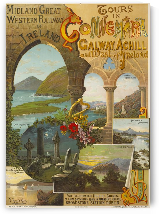 Midland and Great Western Railway poster for Tours in Connemara by VINTAGE POSTER