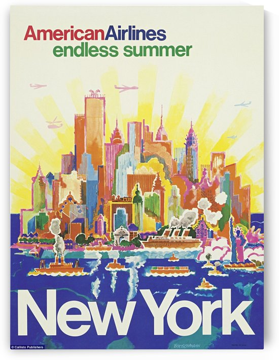 New York American Airlines endless summer travel poster by VINTAGE POSTER