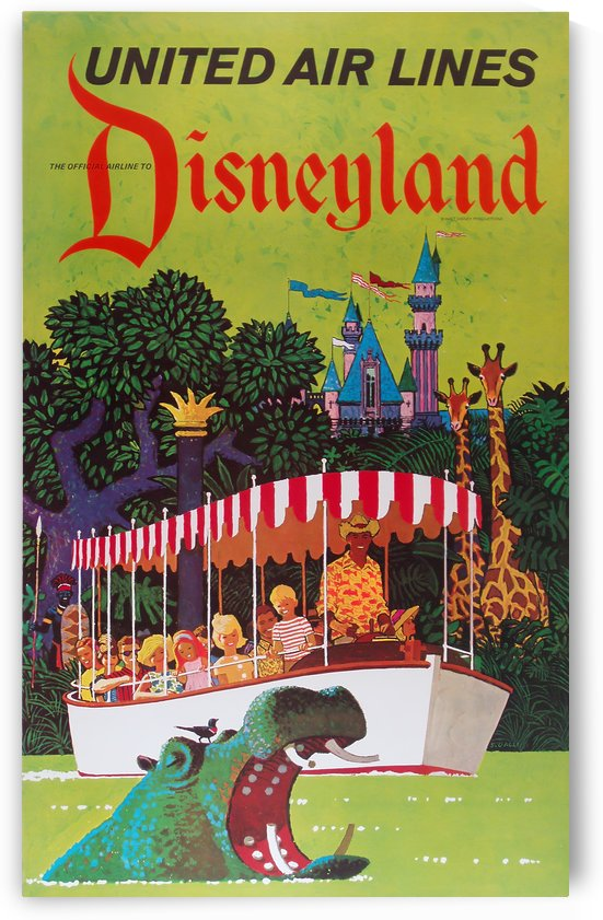 United Air Lines the official airline to Disneyland poster by VINTAGE POSTER
