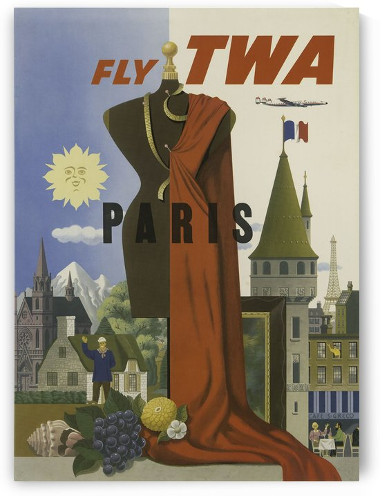 Fly TWA Paris Tourism Poster by VINTAGE POSTER