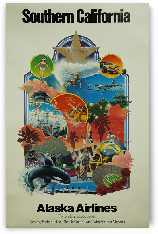 Vintage Alaska Airlines Southern California Travel Poster by VINTAGE POSTER