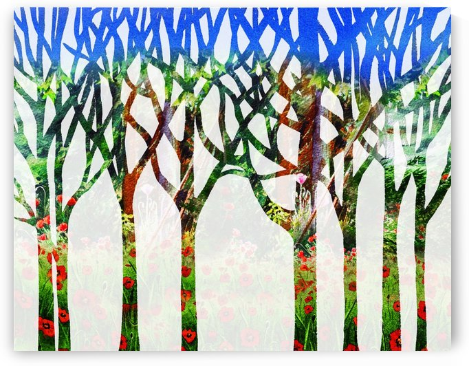 Watercolor Forest Silhouette Summer by Irina Sztukowski