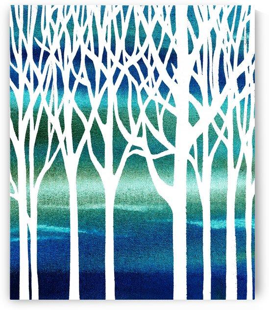 Blue Teal Forest  by Irina Sztukowski