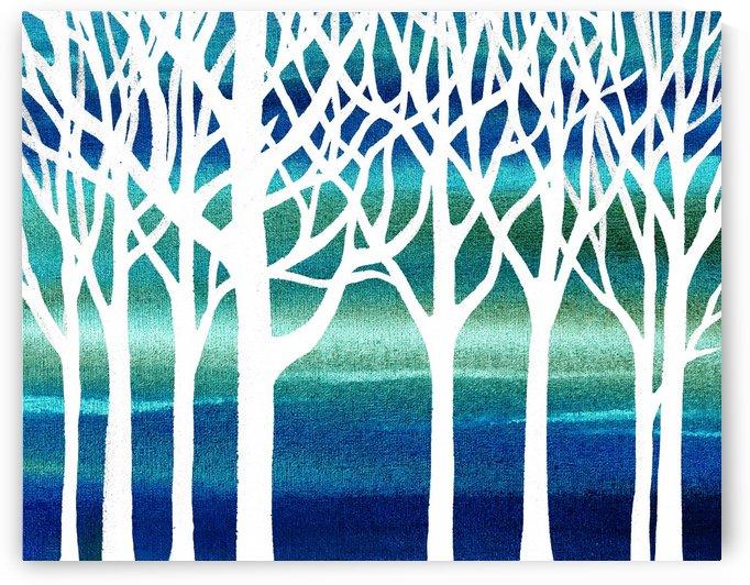 White And Teal Forest by Irina Sztukowski