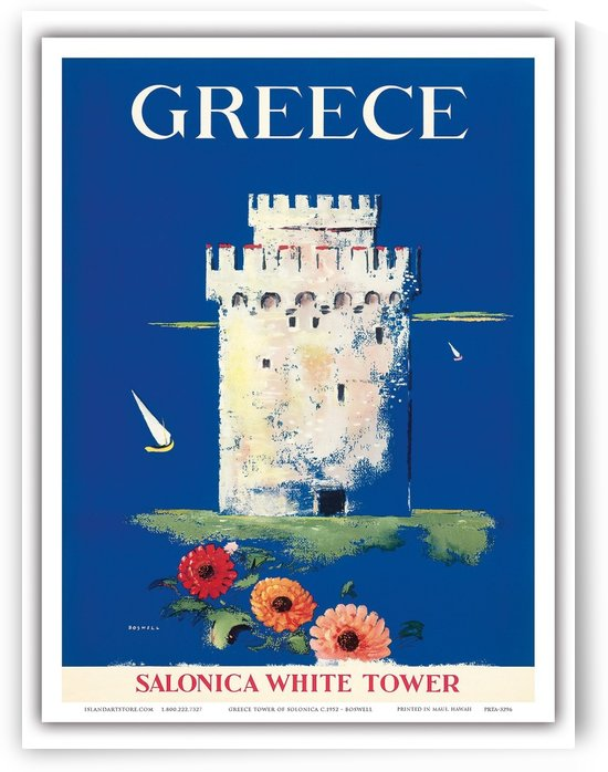 Greece Salonica White Tour travel poster by VINTAGE POSTER