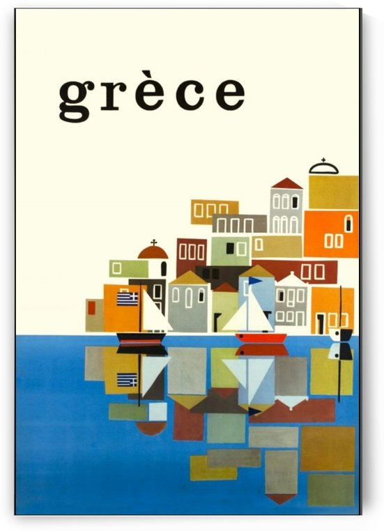 Greece, Seaside Village, Travel, Vintage Poster by VINTAGE POSTER