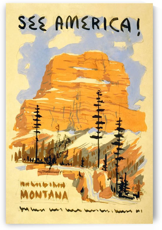 See America Montana vintage travel poster by VINTAGE POSTER