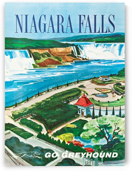 Greyhound Bus Travel Poster for Niagara Falls by VINTAGE POSTER