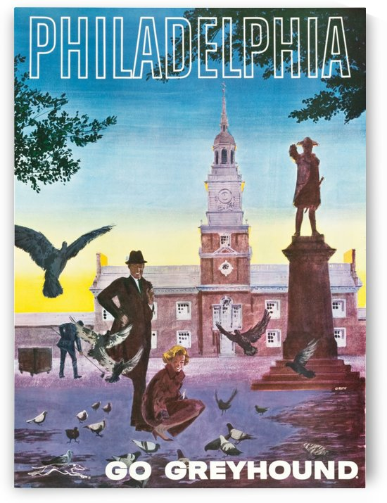 Greyhound Bus Travel Poster for Philadelphia by VINTAGE POSTER