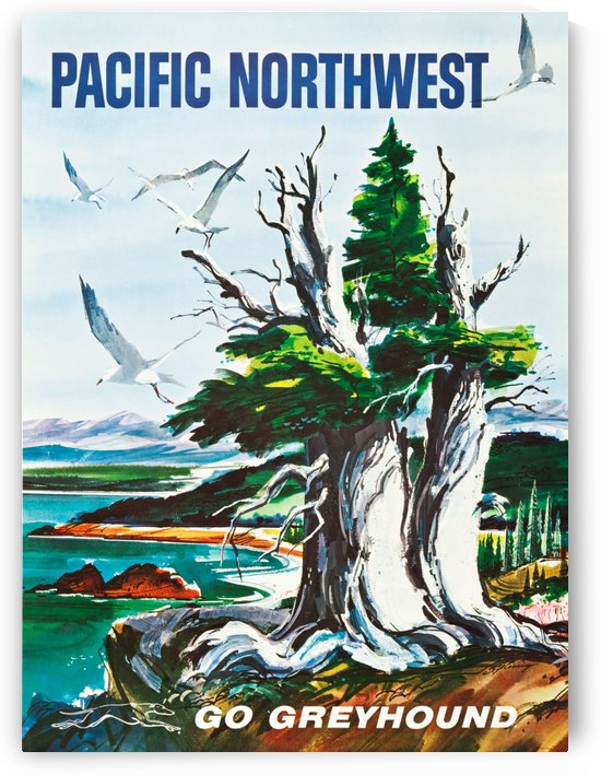 Greyhound Bus Travel Poster for Pacific Northwest by VINTAGE POSTER