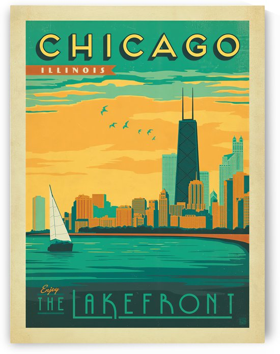 Chicago Lakefront travel poster by VINTAGE POSTER