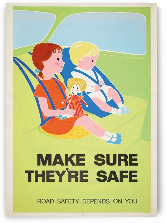 Vintage RoSPA poster for Safety First Seatbelts by VINTAGE POSTER