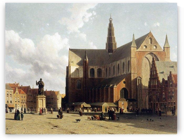 View of the Grote Markt, Haarlem by Jan Weissenbruch