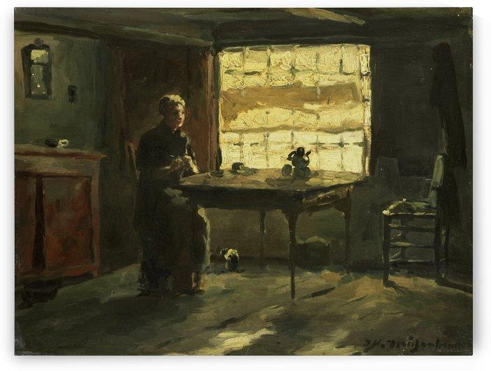 Farmhouse interior by Jan Weissenbruch